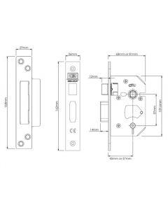 "UNION J22WCS STONG BOLT BATH ROOM LOCK SS FINISH 3""CASE"