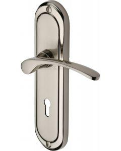 Heritage Brass Door Handle Lever Lock Ambassador Design Mercury finish