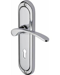 Heritage Brass Door Handle Lever Lock Ambassador Design Polished Chrome finish