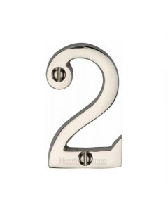 """Heritage Brass Numeral 2 Face Fix 51mm (2"""") Polished Nickel finish"""