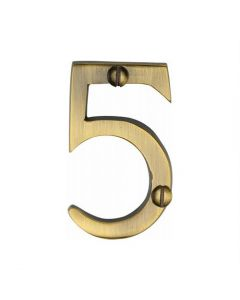 """Heritage Brass Numeral 5 Face Fix 51mm (2"""") Antique finish"""