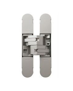 3D INVISIBLE HINGE 130 X 30 SATIN STAINLESS FINISH-POZI SCREWS NOT SUPPLIED
