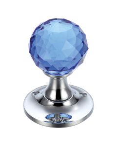 Glass Ball Mortice Knob - Facetted Blue - 50mm