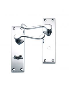 Victorian Scroll Lever Bathroom Door Handle Polished Chrome Lock Pack