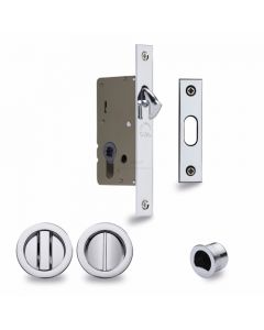 Sliding Lock with Round Privacy Turns Polished Chrome