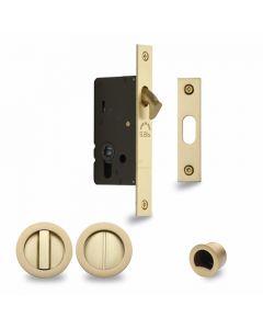 Sliding Lock with Round Privacy Turns Satin Brass