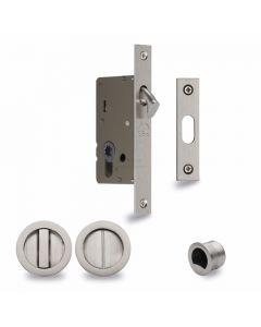 Sliding Lock with Round Privacy Turns Satin Nickel