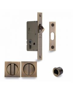 Sliding Lock with Square Privacy Turns Antique Finish
