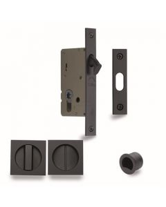 Sliding Lock with Square Privacy Turns Black Finish