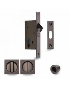 Sliding Lock with Square Privacy Turns Matt Bronze