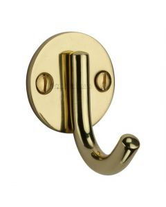 Heritage Brass Single Robe Hook Polished Brass finish