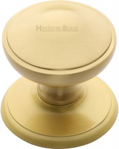 "Heritage Brass Round Centre Door Knob 3"" Satin Brass finish"