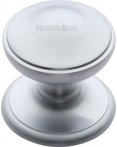 "Heritage Brass Round Centre Door Knob 3"" Satin Chrome finish"