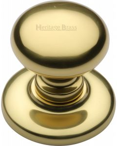 "Heritage Brass Centre Door Knob Round Design 3"" Polished Brass Finish"