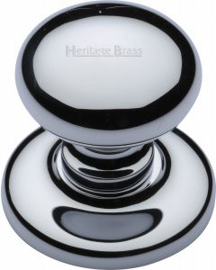 "Heritage Brass Centre Door Knob Round Design 3"" Polished Chrome Finish"