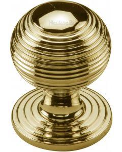 Heritage Brass Cabinet Knob Reeded Design 32mm Polished Brass finish
