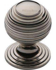 Heritage Brass Cabinet Knob Reeded Design 32mm Polished Nickel finish