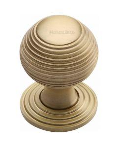 Heritage Brass Cabinet Knob Reeded Design 32mm Satin Brass finish