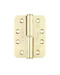 Grade 11 Lift Off Hinge Steel - Radius - Brass - 102 x 76 x 3mm - Left Hand