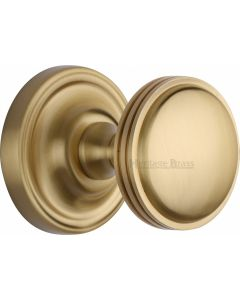 Heritage Brass Mortice Knob on Rose Whitehall Design Satin Brass finish