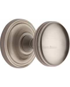 Heritage Brass Mortice Knob on Rose Whitehall Design Satin Nickel finish