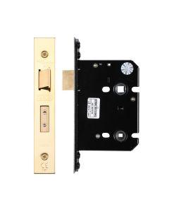 Bathroom Lock - 76mm C/W PVD Forend and Strike
